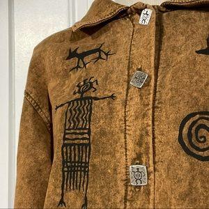 DAGOLI Button Front Cave Art Jacket Sweater